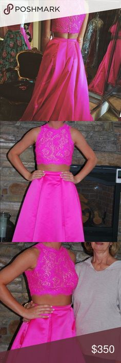 Jovani Two Piece Prom Dress Embellished Top with lace/jewels Zip on top and skirt Worn once Pleated skirt Jovani Dresses Prom