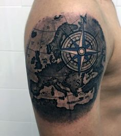 awesome Tattoo Trends - Compass Tattoo Designs For Men. Vintage Compass Tattoo, Compass Tattoos Arm, Simple Compass Tattoo, Nautical Compass Tattoo, Tattoos Arm Mann, Compass Tattoo Design, Map Compass, Nautical Tattoos, Arrow Tattoos