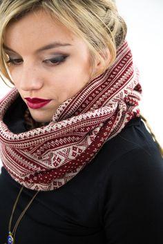 Norwegermuster-Loop Schal, winterlich / winterly norwegian loop scarf by Shoko via DaWanda.com
