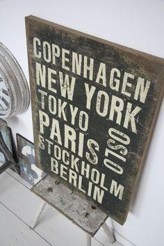 Tekstbord Linnen Copenhagen, New York...   Tekstborden   Label 123