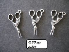 Breloque, charm, métal argenté, CISEAUX CIGOGNE, MERCERIE par 3 NEUF : Couture, mercerie par la-fee-des-mers