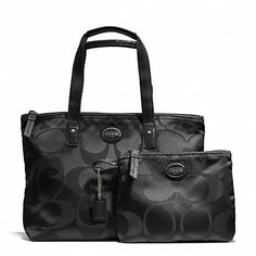 'NWT 2 Piece COACH Getaway Signature Nylon Small Tote' is going up for auction at  5pm Thu, Aug 29 with a starting bid of $1.