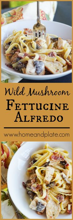 Chicken & Wild Mushroom Fettuccine Alfredo   www.homeandplate   If you have 30 minutes, you can whip up a restaurant-worthy dinner of creamy fettuccine alfredo with hearty mushrooms and juicy chicken. And everything is better with bacon. #FamilyPastaTime #ad