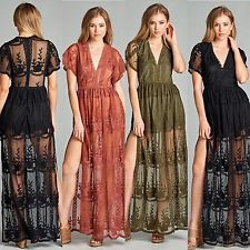 Boutique Lace plunging deep V- neck maxi raxi dress romper honey punch staccato