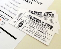 Save the date! Custom Rock n Roll  Party Ticket Invite by VineRipeDesigns, $12.00
