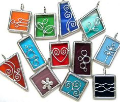 https://flic.kr/p/7Lzcd9 | small stained glass pendants | clearing more small scrap glass...