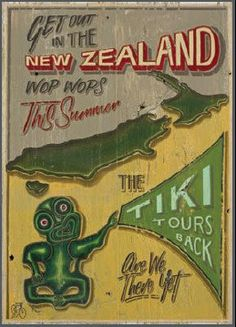 Love this New Zealand Tiki Tours poster by Jason Kelly