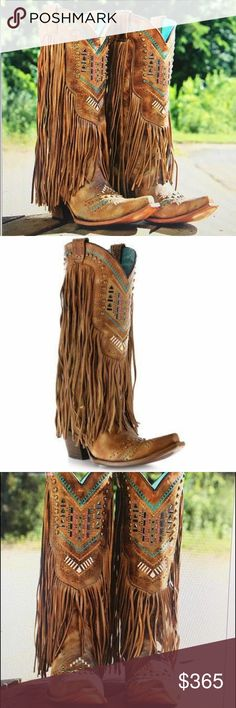 """Corral Honey Crystal Fringe Boot Women's 10. Made of genuine distressed leather upper Leather fringe trim 13"""" shaft Teal leather lining and padded footbed Scalloped collar and pull straps for easy on and off Durable Goodyear welt construction Snip toe profile Leather outsole with 2 3/4"""" fashion cowboy heel Handmade in Leon, Mexico  These stylish cowgirl boots will help you put your best foot forward! The Corral ladies' boots are made of distressed leather with turquoise stitching, metal…"""
