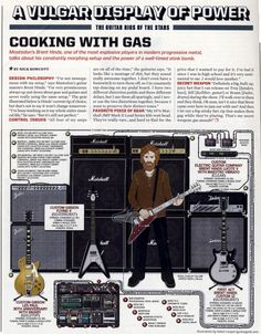 Brent Hinds (Mastodon) Guitar Rig - Guitar World 2010 Guitar Rig, Acoustic Guitar, Vulgar Display Of Power, Guitar Books, Famous Guitars, Learn Something New Everyday, Pedalboard, Stuff And Thangs, Music Photo