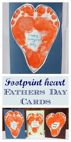 Footprint Heart Fathers Day Card - Such a lovely, fun card to make with children of all ages for Diy Father's Day Crafts, Father's Day Diy, Fun Crafts For Kids, Homemade Fathers Day Gifts, Daddy Gifts, Homemade Gifts, Homemade Cards, Fathers Day Art, Fathers Day Crafts