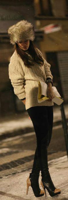 Sacha heels,  Urban Outfitters leggings   , New Look faux fur hat,   H & M man sweater, Blanco clutch.