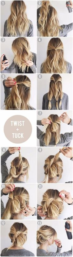 Twist & Tuck Messy Updo | 5 Messy Updos for Long Hair, check it out at http://makeuptutorials.com/updos-for-long-hair-makeup-tutorials