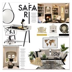 """Safari studio"" by helleka ❤ liked on Polyvore featuring interior, interiors, interior design, home, home decor, interior decorating, Amara, Crate and Barrel, Pier 1 Imports and HiEnd Accents"