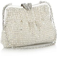 Silver meshed crystal clutch bag found on Polyvore