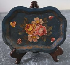Antique Hand Painted Diminutive Tole Tray