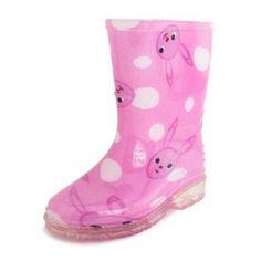 Easy USA Girls Rain Boots Pink Rabbit