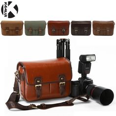 Photo Bag PU Leather Vintage Shoulder DSLR Camera Bag Case for Nikon Canon D5300 D3200 D7200 700D 600D D3100 D5500 D3300 70D 80D