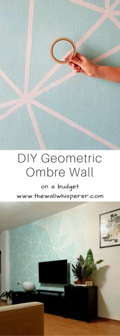 DIY accent wall, on a budget. Turquoise Grey and brown living room decor. Affordable home decor. Easy and simple ombre gradient effect with the use of masking tape or painters tape. DIY TV wall decor. #diy #diyhomedecor #homedecor #homestyling #accentwall #wallart #walldecor #roommakeovert #maskingtapedecor #maskingtape #painterstape