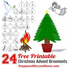 24 Free Printable Christmas Advent Ornaments from HappyandBlessedHome.com