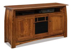 Amish Boulder Creek 3-Door TV Stand with Opening - Quick Ship Solid oak wood in your choice of finish warms TV time. This TV stand will last for generations.