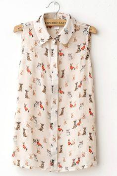 Animal Print Sleeveless Shirt OASAP.com  It has chihuahuas!!