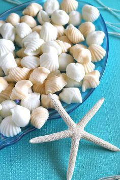 shell mints as favors for a beach theme wedding