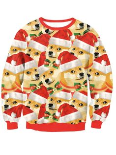 4355d3af852 3D Printed Doge Long Sleeve Crew Neck Pullover Sweatshirt. Ugly Christmas  Sweater WomenChristmas ...