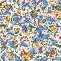 Rossi Italian Traditional Florentine Style Paper - Fruits and Flowers. via Etsy.