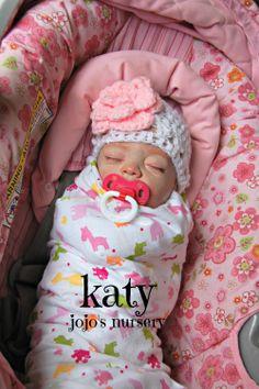 reborn, girl, sister, katy, rooted eyelashes, painted hair, binky, crochet hat, car seat, infant carrier, newborn, lifelike baby, doll, pink, blanket, sleeping www.jojosnursery.org www.facebook.com/summersnursery