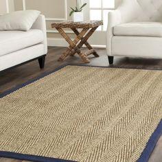 Safavieh Hand-woven Sisal Natural/ Blue Seagrass Rug (8' x 10')