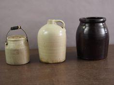 3 Stoneware Crocks and Jugs. Stoneware Crocks, Auction, Jar, Home Decor, Jars, Interior Design, Home Interior Design, Glass, Home Decoration