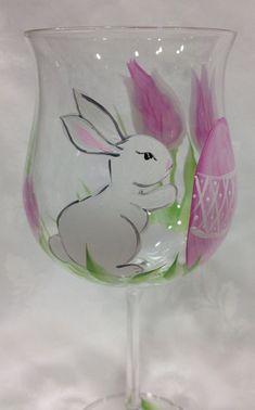 Set de dos copas de vino de Pascua cristal pintado a mano con