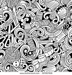 Cartoon hand-drawn handmade and sewing doodles seamless pattern. Line art detailed, with lots of objects vector background