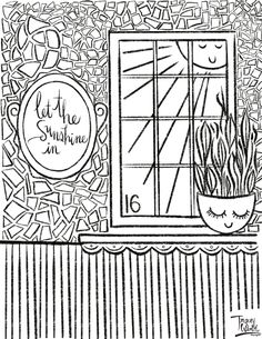 Check out surface pattern designer and illustrator Tracey Wirth's free coloring pages. Free Coloring Pages, Surface Pattern Design, Sunshine, Elephant, Let It Be, Illustration, Illustrations, Sunlight, Elephants