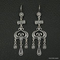 UNIQUE FILIGREE STYLE 925 STERLING SILVER GREEK HANDMADE ART EARRINGS #IreneGreekJewelry #Chandelier