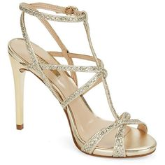 Guess Carnneya Leather Stiletto Sandals ($30) ❤ liked on Polyvore featuring shoes, sandals, gold, stiletto sandals, guess footwear, heels stilettos, leather shoes and real leather shoes