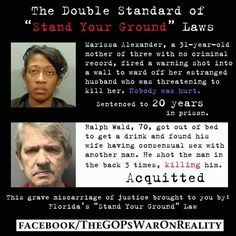 """Racism & Stand Your Ground ~ The law should be called """"Stand Your Ground But Only If You're White Man""""."""