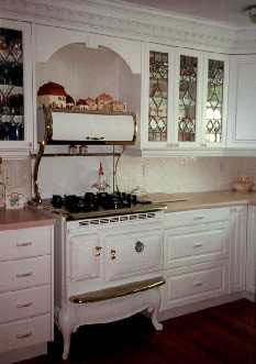 Antique Stove And Leaded Glass Cabinet Doors