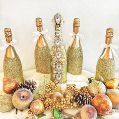 A Champagne Thanksgiving! Thankful And Blessed, Grateful, Glitter Bottles, Liquor Bottles, Champagne, Thanksgiving, Holidays, Party, Instagram Posts