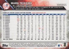 2016 Topps Holiday Baseball #HMW65 Mark Teixeira Back