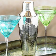 Hammered Stainless Steel Cocktail Shaker | World Market- Not too plain, love the hammered steel look.