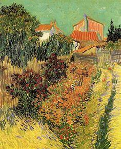 Vincent van Gogh.  Garden Behind a House. Arles: August 1888