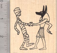 Halloween Dance like an Egyptian Rubber Stamp with Anubis and the Mummy (K18801) $12 at RubberHedgehog.com