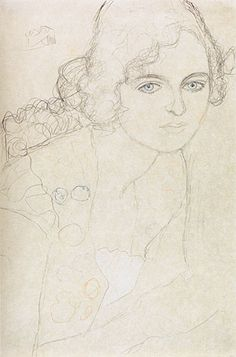 Gustav Klimt sketch: In-depth analysis and art prints at: gustavklimtthekis. Art Sketches, Art Drawings, Pencil Drawings, Franz Josef I, Klimt Art, Baumgarten, Kunst Online, Art Techniques, Figurative Art