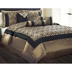 Giovanni 7-piece King-size Comforter Set  Write a review  Sale $62.99  Today $69.99  Save $7.00 (10%) Item #: 14023163 Very High Sellout Risk  Add an extra touch of class to your bedroom with this beautiful Giovanni bedding set. This comforter set features a stunning patchwork pattern in gold and black....more