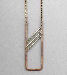 Grey Beaded Brass Necklace