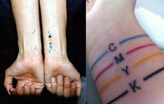 cmyk tattoo = kind of awesome Cool Small Tattoos, Pretty Tattoos, Cool Tattoos, Tatoos, Body Art Tattoos, I Tattoo, Button Tattoo, Sharpie Tattoos, Graphic Design Tattoos