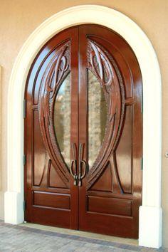Custom Mahogany Doors, French Doors, Wooden Church Doors, Entry Door, Mahogany Mouldings