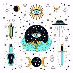 Eye Illustration, Illustrations, Magic Doodle, Evil Eye Art, 4 Tattoo, Esoteric Art, Eye Painting, Witch Art, Moon Art