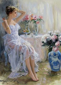renaissance art Konstantin Razumov (born Russian School, A girl and flowers Renaissance Kunst, Victorian Art, Victorian Paintings, Classical Art, Woman Painting, Aesthetic Art, Aesthetic Women, Aesthetic Painting, Aesthetic Drawing